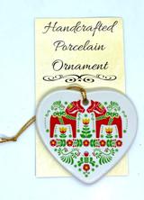 Dala Horses Heart Ceramic Ornament