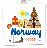 Norway Church and Ship Tile Trivet