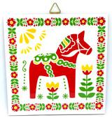 Dala Horse Folk Art Tile Trivet