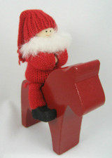 Bearded Tomte On Dala Horse