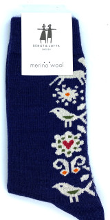 Bengt & Lotta Birds Socks (blue)