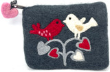 Lovebirds Grey Felted Purse