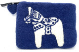 Swedish Horse Blue Felted Purse
