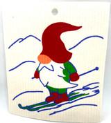 Skiing Gnome Swedish Dishcloth