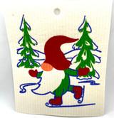 Ice Skating Gnome Swedish Dishcloth