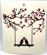 Kissing Birds Swedish Dishcloth