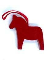 Red Dalahorse Wood Ornament