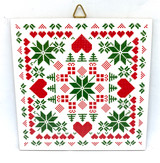 Red and  Green Nordic Stitch Tile Trivet