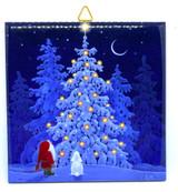 Tomten, Bunny, and Christmas Tree Tile Trivet
