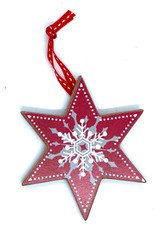 Nordic Red Star Wood Ornament