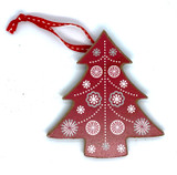 Nordic Red Christmas Tree Wood Ornament
