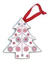 Nordic White Christmas Tree Wood Ornament