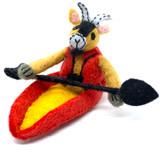 Kayaking Goat Felt Ornament