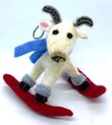 Skiing Goat Felt Ornament