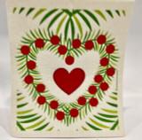 Christmas Heart Wreath Swedish Dishcloth