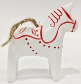 Dala Horse Ornament White