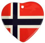 Norwegian Flag Heart Ceramic Ornament