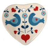 Bluebirds Folk Art Ceramic Ornament