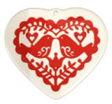 Folk Art Birds Ceramic Ornament