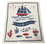 Fish & Ships Swedish Dishcloth