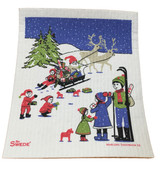 Sled Ride Swedish Dishcloth