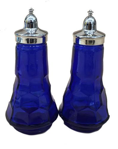 Al Johnson's Blue Glass Salt & Pepper Set
