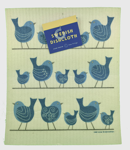 Birds On Wire Swedish Dishcloth