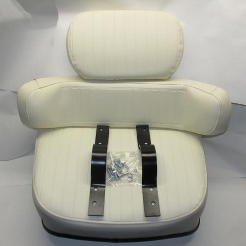 3 Piece Cream Embossed w/ Brackets Seat Cushion Set