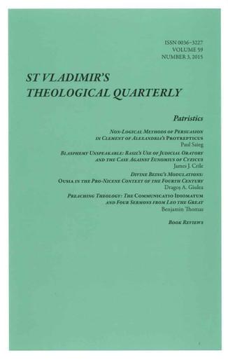 St. Vladimir's Theological Quarterly, Vol. 59, no. 3 (2015)