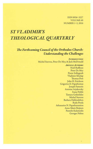 St. Vladimir's Theological Quarterly, Vol. 60, no. 1-2 (2016)