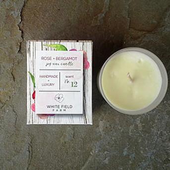 Candle - Rose + Bergamot, Soy Wax, 7oz
