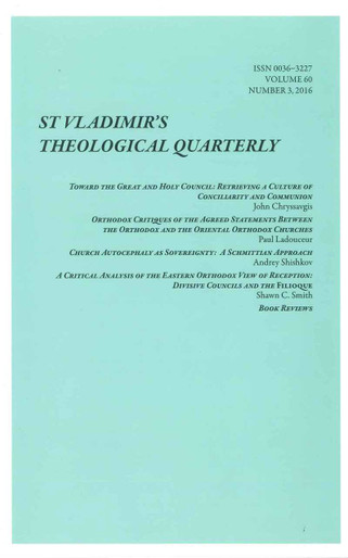 St. Vladimir's Theological Quarterly, Vol. 60, no. 3 (2016)