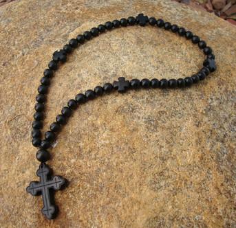 Prayer Rope - 50 Black Ebony Beads, 8mm