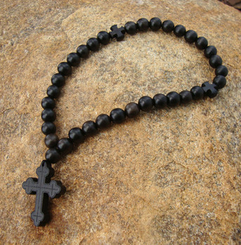 Prayer Rope - 33 Black Ebony Beads, 8mm