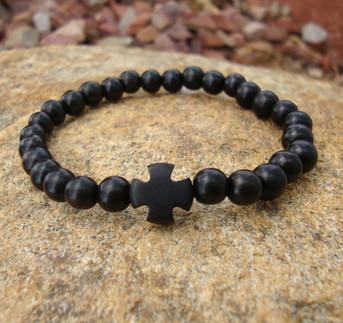 Wrist Rope - Black Ebony 6mm Beads w/Ebony Cross