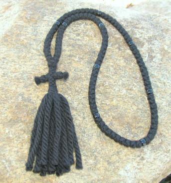 Prayer Rope - Wool 100 Knots, 4 Ply w/Black Beads