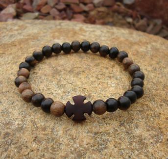 Wrist Rope - Tiger Ebony 6mm Beads w/T Ebony Cross