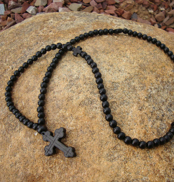 Prayer Rope - 100 Black Ebony Beads, 8mm