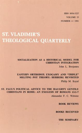 St Vladimir's Theological Quarterly, vol. 25, no. 4 (1981)