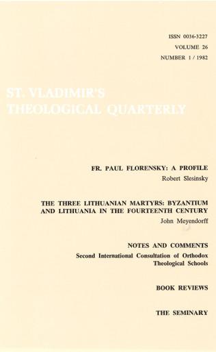St Vladimir's Theological Quarterly, vol. 26, no. 1 (1982)