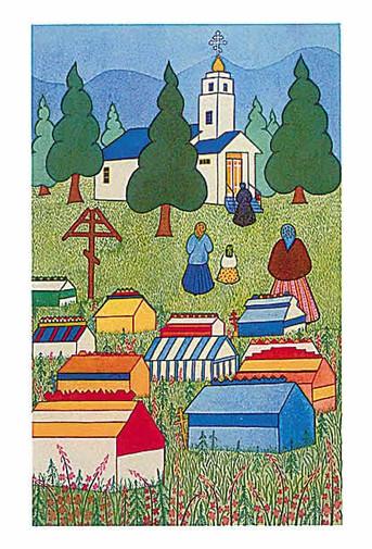 Alaskan Note Cards: Spirit Houses (AK-1007)