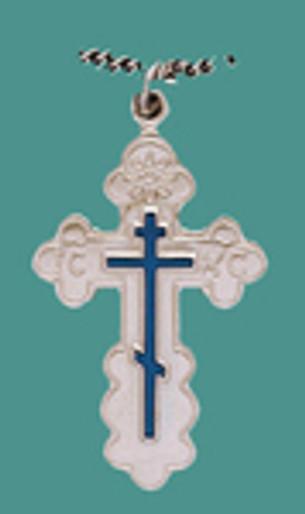 "Cross SS St, Olga Style, Med w/18"" stainless steel chain w/blue enml, engr."