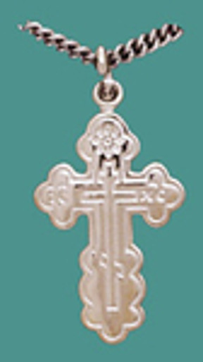 """Cross SS St. Olga Style, Sm. w/18"""" stainless steel chain, engr."""