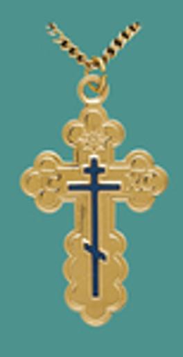 "Cross SS/GP w/24"" stainless/GP chain, Lg. St Olga style w/blue enamel, engr"