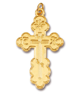 "Cross SS/GP St. Olga Style, Lg. w/24"" Stainless Steel/GP Chain, engraved"