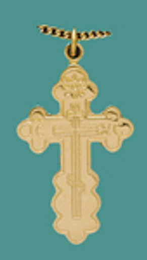 """Cross SS/GP w/stainless/GP 18"""" chain, med. St Olga style - engr."""