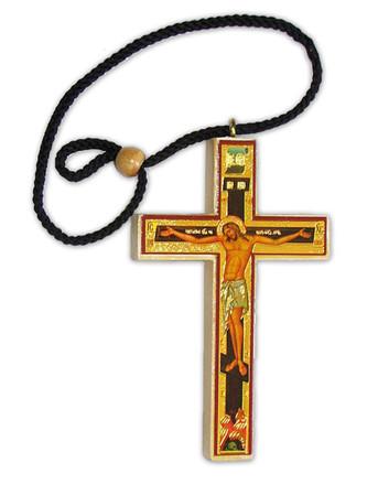Cross - Decopague with the figure of Christ (4 X 2.5) w/cord