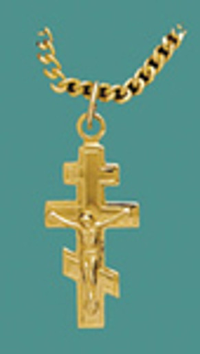 "Cross SS/GP w.stainless/GP 18"" chain Sm. 3 bar w/corpus"