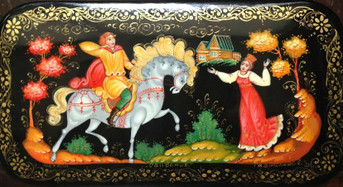 Russian Papier Mache Lacquer Box Hand Painted Box