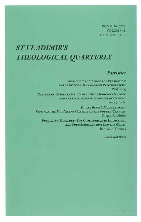 St. Vladimir's Theological Quarterly, Vol. 59, no. 3 (2015)